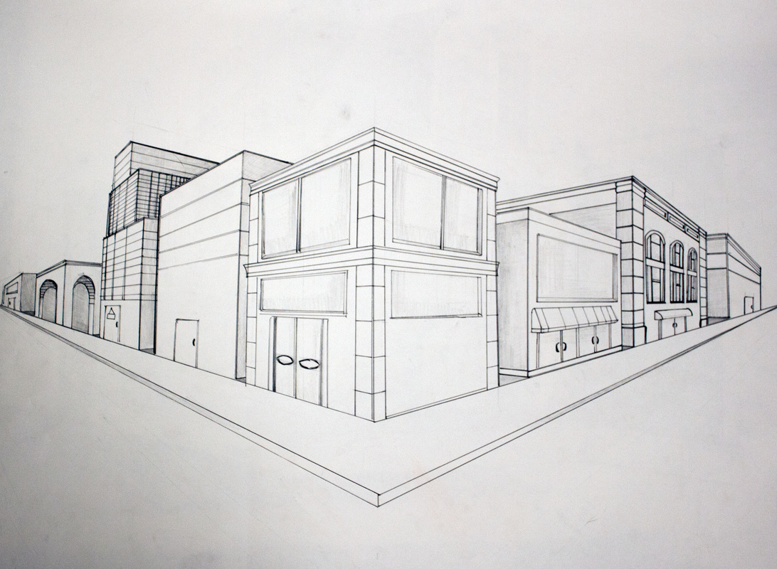 Two point perspective annotated perspective drawings